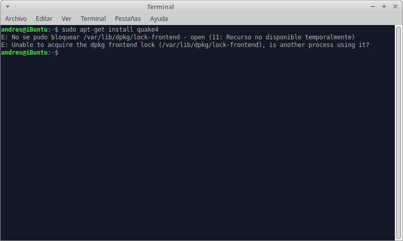 No se pudo obtener el bloqueo /var/lib/dpkg/lock – open (recurso temporalmente no disponible)