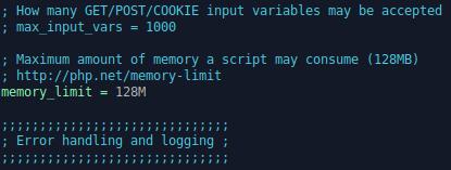 php.ini memory_limit