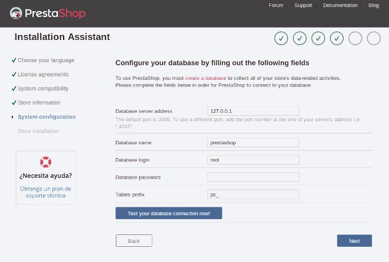 Instalar Prestashop conexión a base de datos